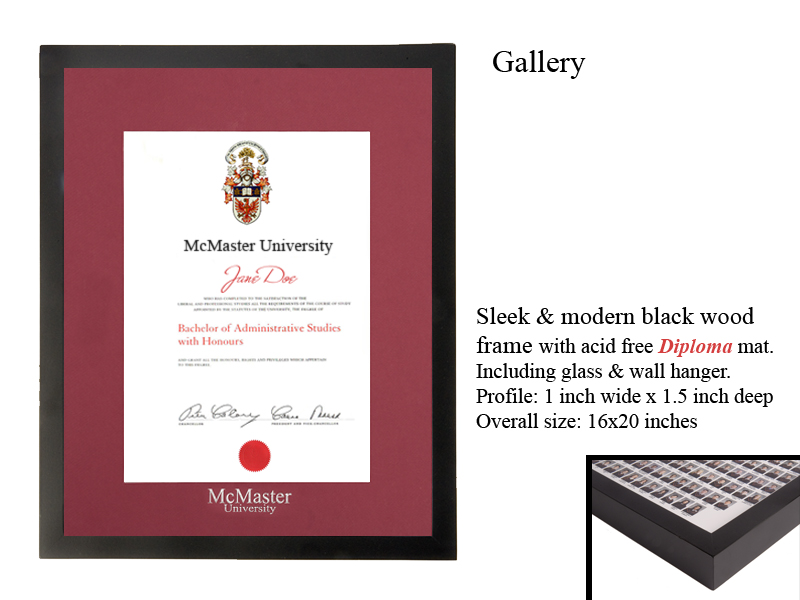 Gallery Frame With Mcmaster Diploma Matte Burgandy Store