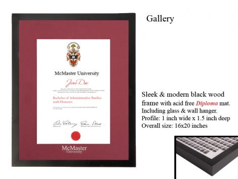 $49.95  Gallery Frame with McMaster Diploma Matte Burgundy